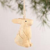 Carved Wood Animal Ornaments, Set of 4