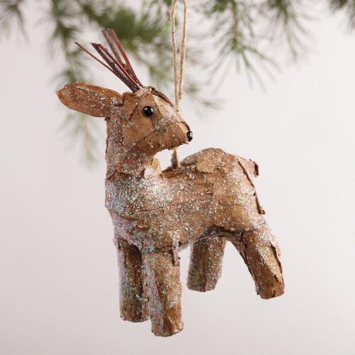 Natural Fiber Deer Ornaments,  Set of 2