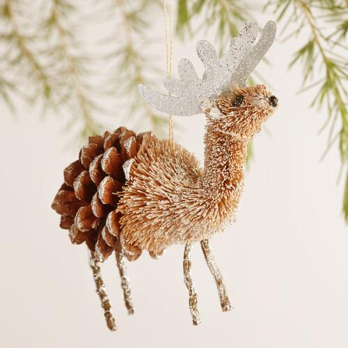 Bottlebrush Reindeer Ornaments, Set of 2