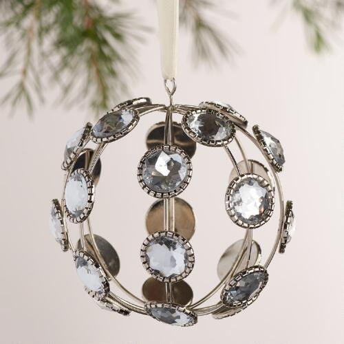 Metal Gem Ball Ornaments, Set of 2
