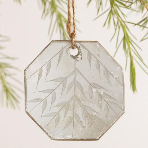 Glass Etched Mirror Ornaments, Set of 3