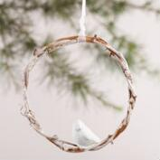 Twig Wreath with Woodland Creature Ornaments, Set of 3