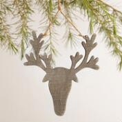 Wood  Stag Head Ornaments, Set of 3
