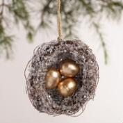 Glittered Nest with Eggs Ornaments, Set of 2