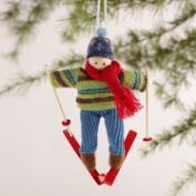 Skiing Boy and Girl Ornaments, Set of 2