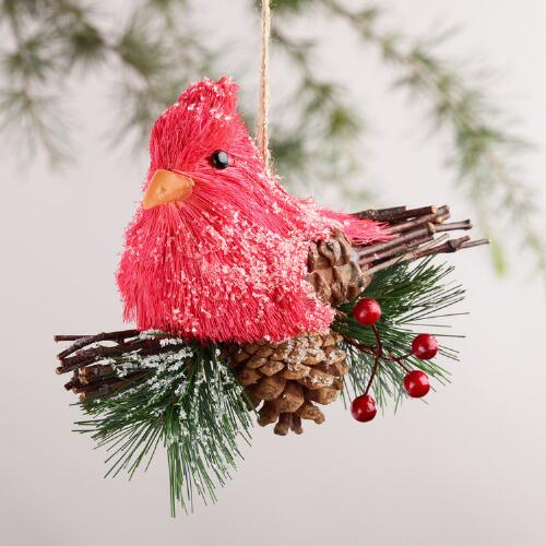 Natural Fiber Cardinal  Ornament