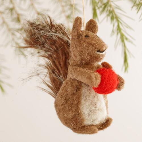 Felted Wool Squirrel Ornaments, Set of 2