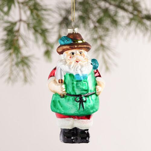 Glass Garden Santa Ornament