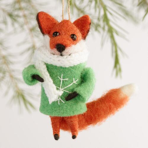 Felted Wool Fox Ornaments, Set of 3