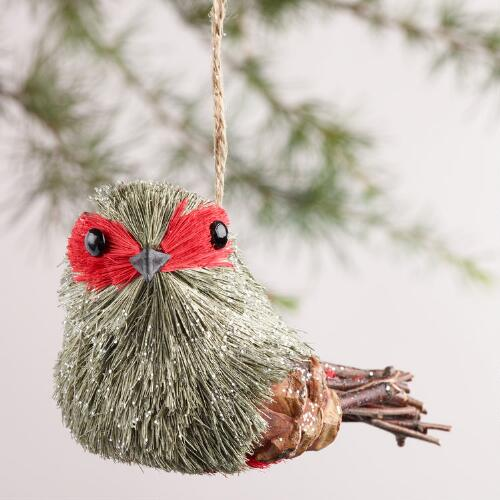 Natural Fiber Masked Bird Ornaments, Set of 2