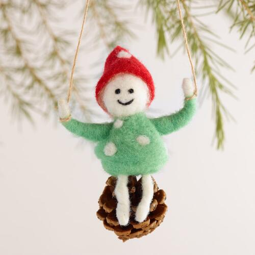 Felt Kid on Pinecone Ornaments, Set of 3