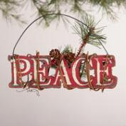 Red and White Wood Sign Ornaments, Set of 3