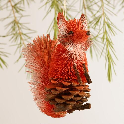 Bottle Brush Fox Ornaments, Set of 2