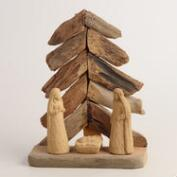Driftwood Nativity Scene with Tree
