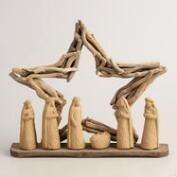 Driftwood Nativity Scene with Star