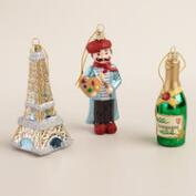 Glass France Boxed Ornaments, 3-Pack