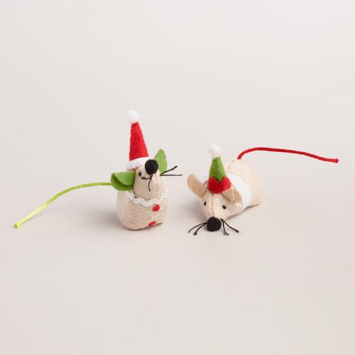 2 Piece Holiday Mice Toys with Catnip, Set of 2