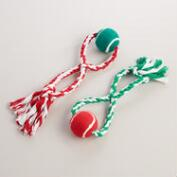 2 Piece Rope and Ball Tug Toys, Set of 2