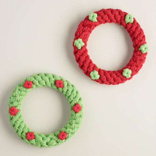 2 Piece Rope Wreath Dog Toys, Set of 2