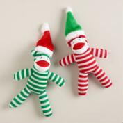 Sock Monkey Dog Toys, Set of 2