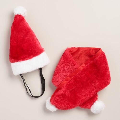 2 Piece Santa Hat and Scarf Dog Costume