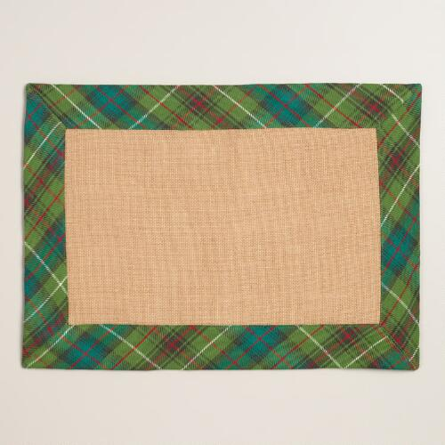 Green Plaid Burlap Placemats, Set of 4
