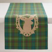 Green Plaid Stag Table Runner