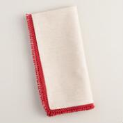 Chambray Napkins with Red Chenille Trim, Set of 4
