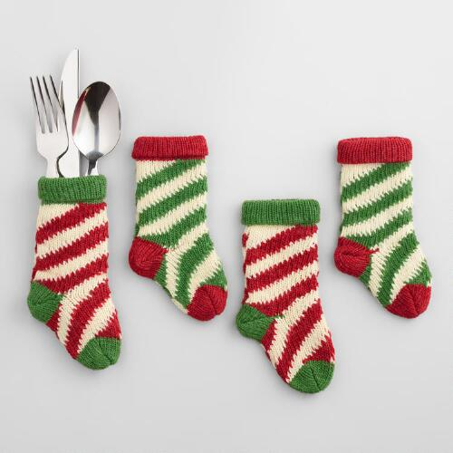 Striped Mini Stocking Utensil Holders, 4-Pack