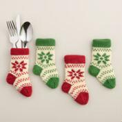 Snowflake Mini Stocking Utensil Holders, Set of 4