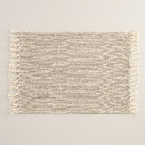 Ivory and Silver Herringbone Placemats, Set of 4