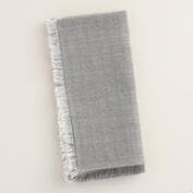 Gray and Silver Herringbone Napkins, Set of 4