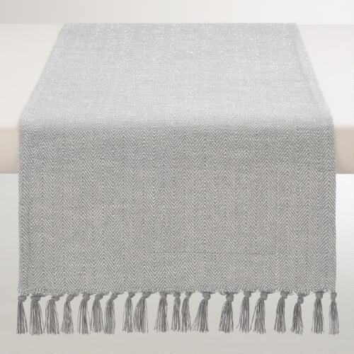 Gray and Silver Herringbone Runner