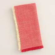 Red and Gold Herringbone Napkins, Set of 4