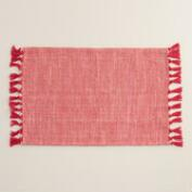 Red and Gold Herringbone Placemats, Set of 4