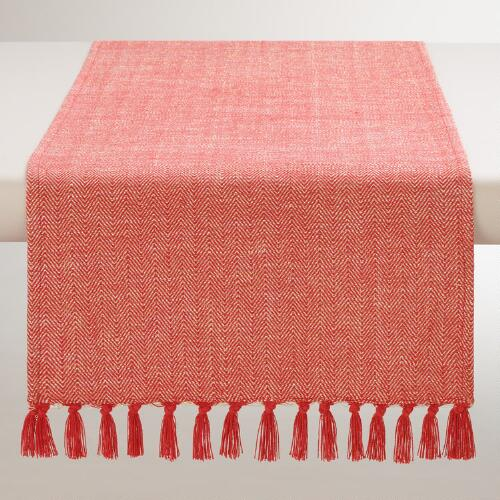 Red and Gold Herringbone Table Runner
