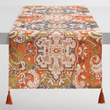 Gray and Orange Felicity Table Runner