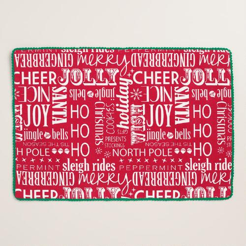 Red Vintage-Style Sentiments Placemats, Set of 4