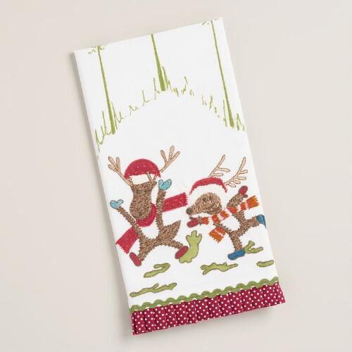 Embroidered Dancing Reindeer Kitchen Towel
