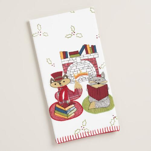 Embroidered Foxes Reading Kitchen Towel