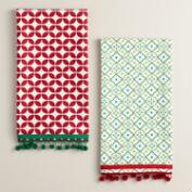 Red and Green Geometric Kitchen Towels, Set of 2