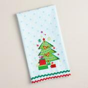 Embroidered Christmas Tree with Bird Kitchen Towel
