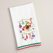 Embroidered Bird with Ornaments Kitchen Towel