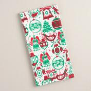 Red and Green Ornaments Flour Sack Kitchen Towel