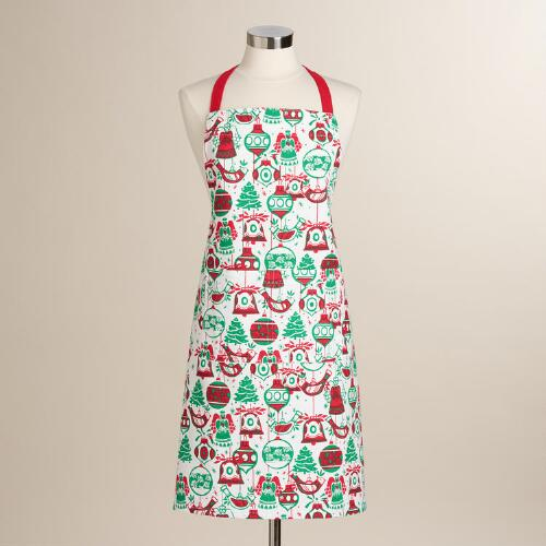 Red and Green Ornaments Apron