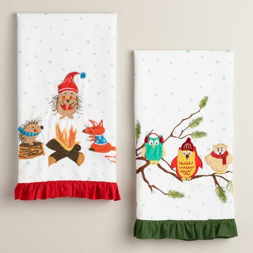 Woodland Creatures Kitchen Towels, Set of 2