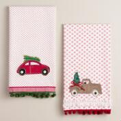 Embroidered Car and Truck Tea Towels, Set of 2