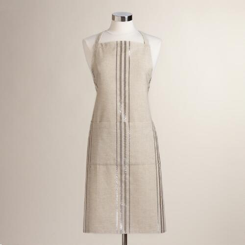 Linen Silver Striped Apron
