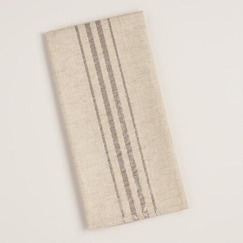 Linen Silver Striped Kitchen Towel