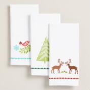 Holiday Embroidered Hand Towels, Set of 3